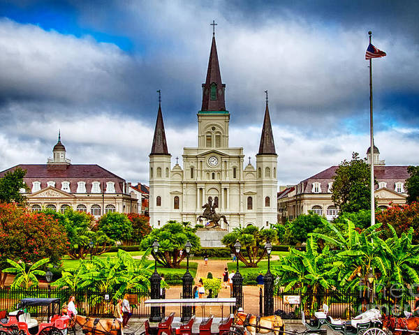 Cathedral Poster featuring the photograph Jackson Square New Orleans by Jarrod Erbe