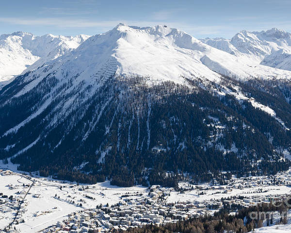 Davos Poster featuring the photograph Jakobshorn Davos Mountains And Town Switzerland by Andy Smy
