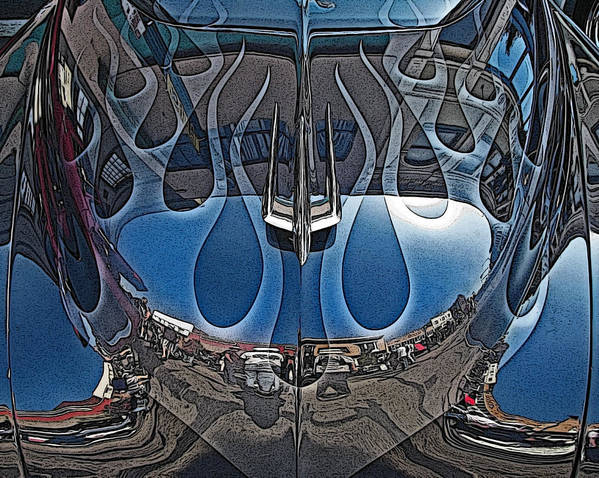 Jalopy Hood Reflections Poster featuring the photograph Jalopy Hood Reflections by Samuel Sheats