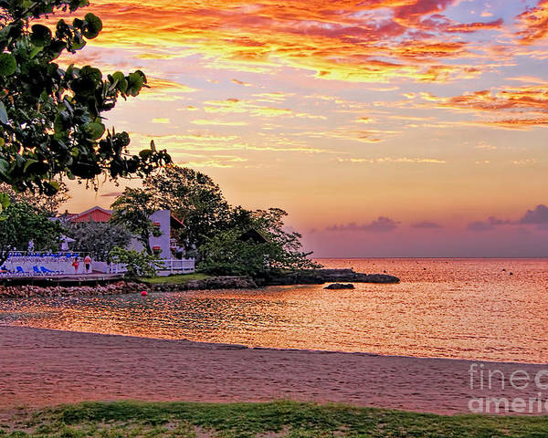 Sunset Seascape Poster featuring the photograph Jamaican Sunset by Olga Hamilton