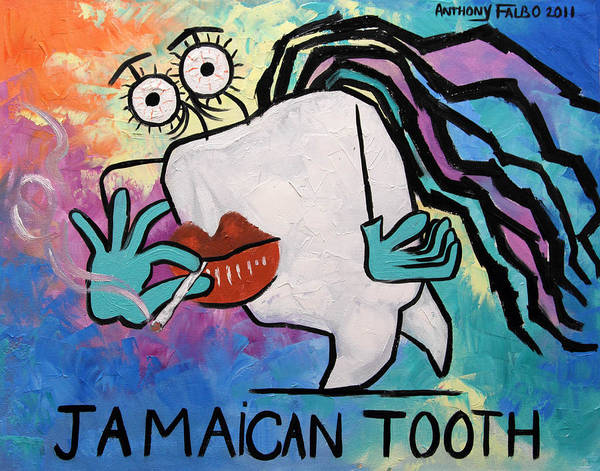 Jamaican Tooth Poster featuring the painting Jamaican Tooth by Anthony Falbo