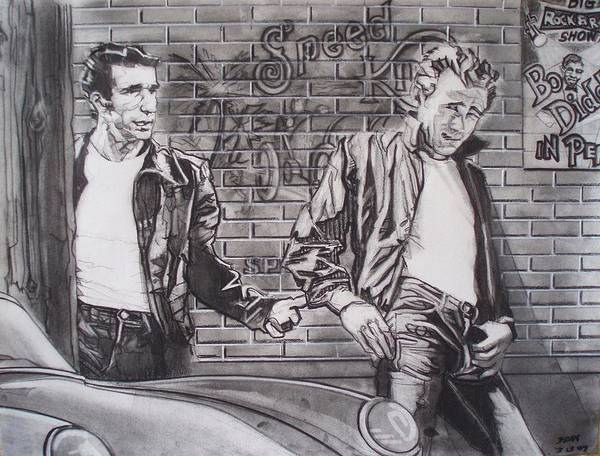 Americana Poster featuring the drawing James Dean Meets The Fonz by Sean Connolly