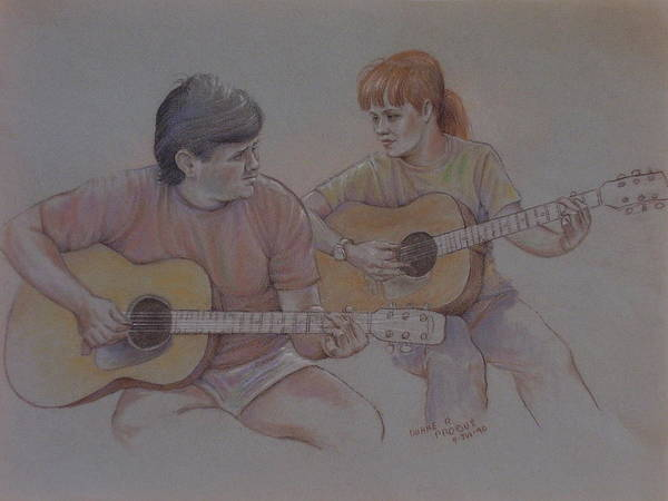 Music Poster featuring the pastel Jamin by Duane R Probus