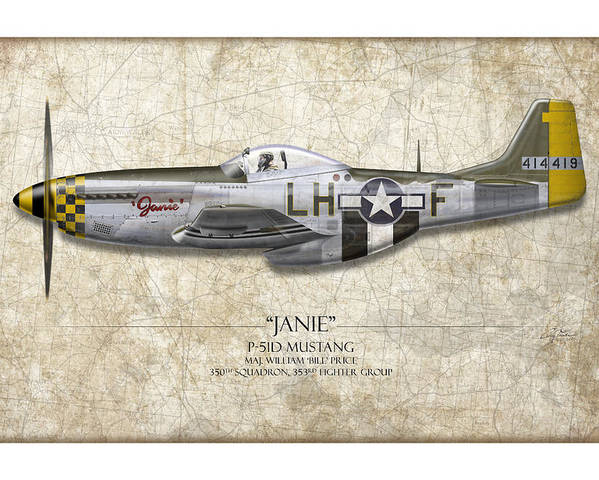 Aviation Poster featuring the painting Janie P-51d Mustang - Map Background by Craig Tinder
