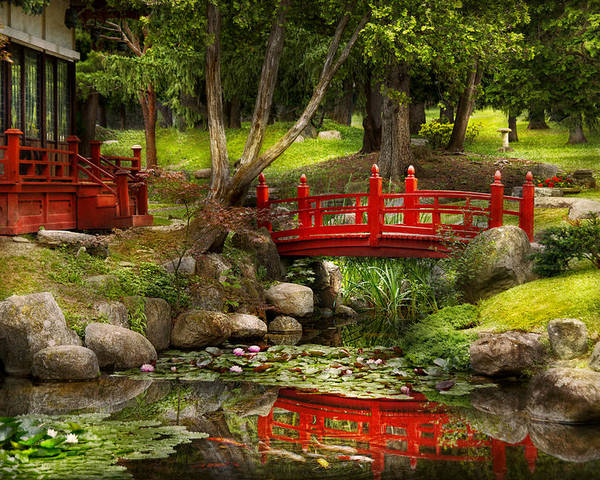 Teahouse Poster featuring the photograph Japanese Garden - Meditation by Mike Savad
