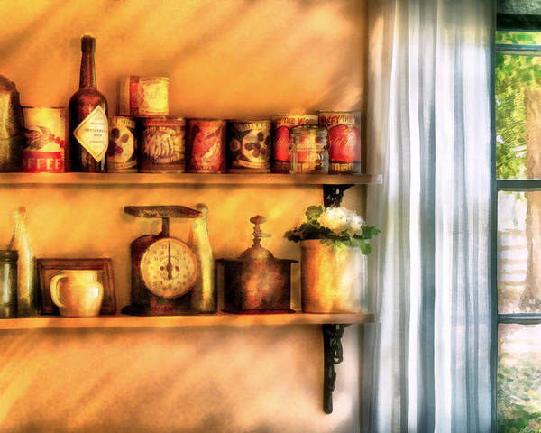 Savad Poster featuring the digital art Jars - Kitchen Shelves by Mike Savad