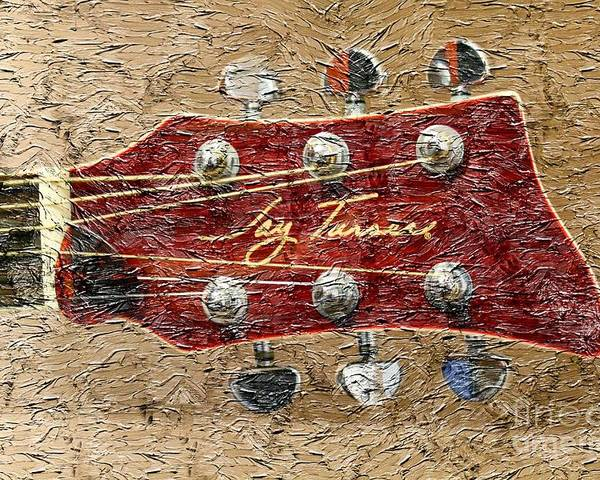 Jay Turser Guitar Head Poster featuring the photograph Jay Turser Guitar Head - Red Guitar - Digital Painting by Barbara Griffin