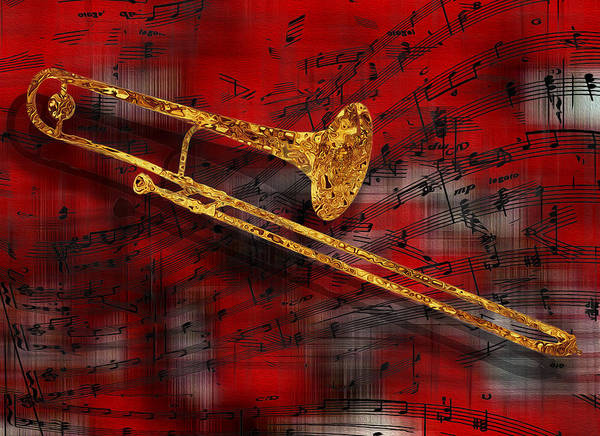 Tuba Poster featuring the painting Jazz Trombone by Jack Zulli