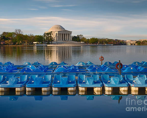 Paddle Boats Poster featuring the photograph Jefferson Memorial And Paddle Boats by Jerry Fornarotto