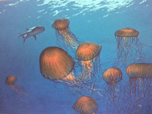 Underwater Poster featuring the painting Jellyfish And Mr. Bones by Philip Fleischer