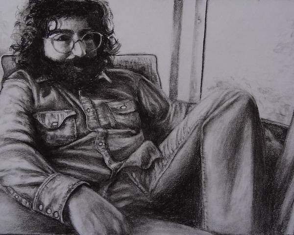 Grateful Dead Poster featuring the drawing Jerry Garcia In '72  by Leandria Goodman