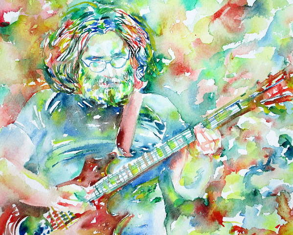 Jerry Poster featuring the painting JERRY GARCIA PLAYING the GUITAR watercolor portrait.3 by Fabrizio Cassetta