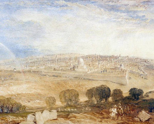 View Poster featuring the drawing Jerusalem From The Mount Of Olives by Joseph Mallord William Turner