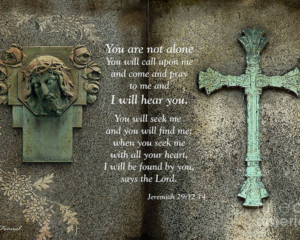 Bible Scripture Prints Poster featuring the photograph Jesus And Cross - Inspirational - Bible Scripture by Kathy Fornal