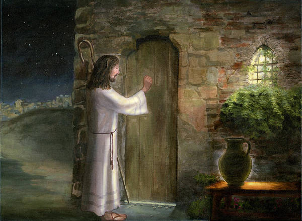 Religious Christian Catholic Jesus Painting Classical Style Cecilia Brendel Oil Painting Jerusalem Israel Jesus Knocking At The Door Stone Wall Poster featuring the painting Jesus Knocking At The Door by Cecilia Brendel