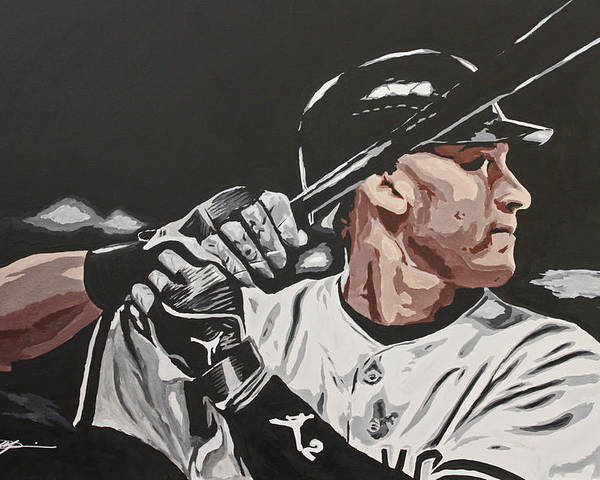 Jeter Poster featuring the drawing Jeter by Don Medina