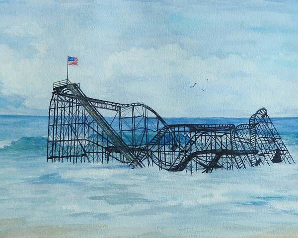 Roller Coaster Poster featuring the painting Jetstar by Anita Riemen