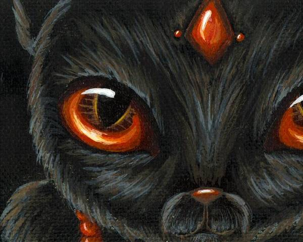 Fantasy Cat Poster featuring the painting Jeweled Kitty 9 Carnelian by Elaina Wagner
