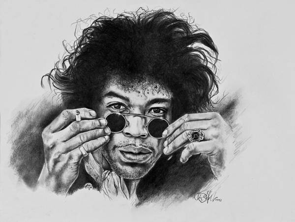 Jimihendrix Poster featuring the drawing Jimi Hendrix by Art Imago