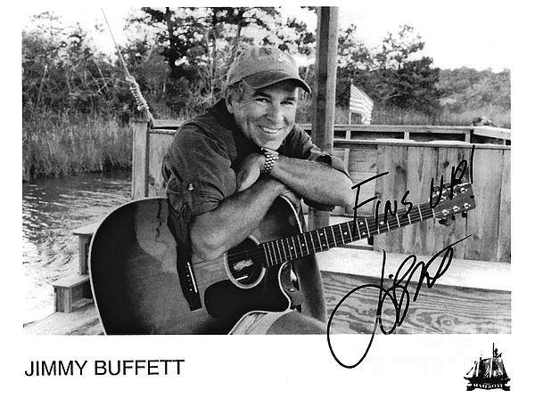 Jimmy Buffett Poster featuring the photograph Jimmy Buffett Fins Up Signed Photo by Desiderata Gallery