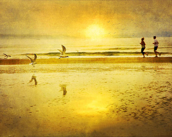 Beach Poster featuring the photograph Jogging On Beach With Gulls by Theresa Tahara
