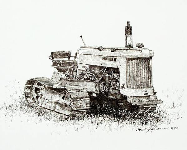 Tractor Poster featuring the drawing John Deere Crawler by Scott Alcorn