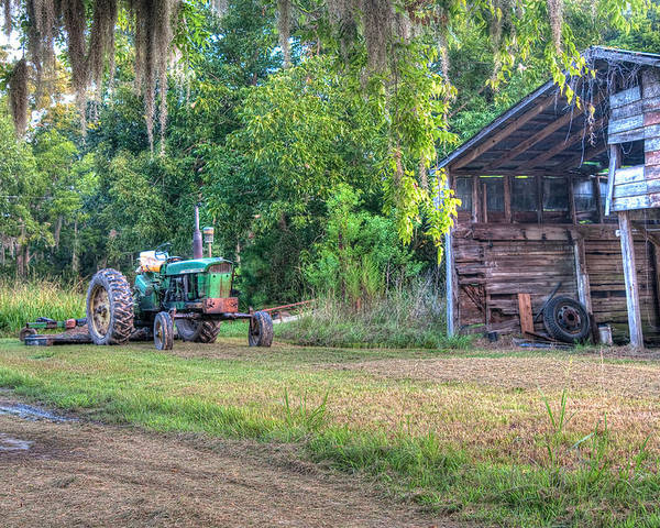 Lowcountry Poster featuring the photograph John Deere - Old Tractor Shed by Scott Hansen