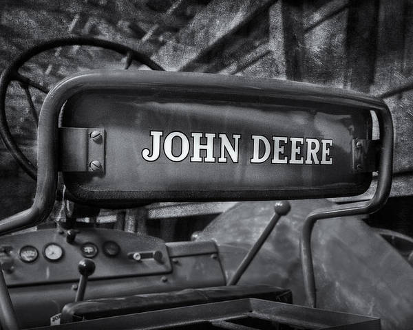 Diesel Poster featuring the photograph John Deere Tractor Bw by Susan Candelario