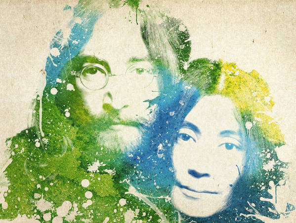 The Beatles Poster featuring the painting John Lennon and yoko ono by Aged Pixel