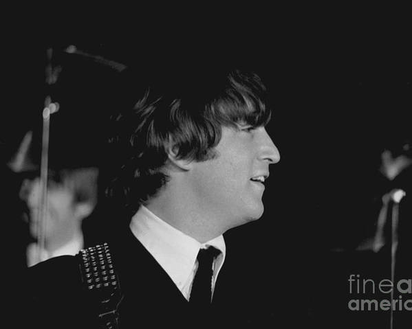 Beatles Poster featuring the photograph John Lennon, Beatles Concert, 1964 by Larry Mulvehill