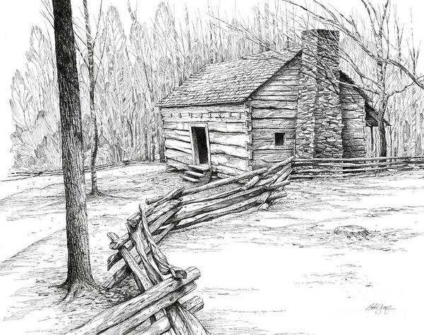 Landscape Poster featuring the drawing John Ownby Cabin by Bob George