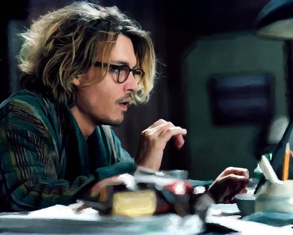 David Koepp Films Poster featuring the digital art Johnny Depp as Mort Rainey @ Secret Window by Gabriel T Toro