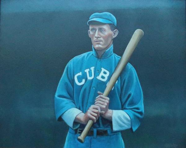 Chicago Poster featuring the painting Johnny Evers by Mark Haley