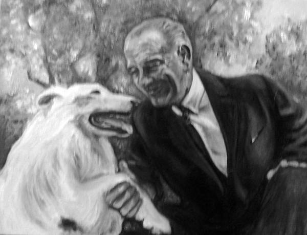President Lyndon B Johnson Poster featuring the painting Johnson And Blanco by Martha Suhocke