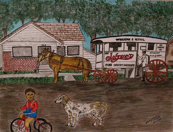Johnson Creamery Poster featuring the painting Johnsons Milk Wagon Pulled By A Horse by Kathy Marrs Chandler