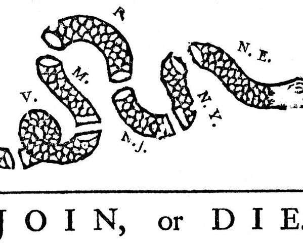 History; Western Script; American Culture; Usa; Connection; Horizontal; One Animal; Snake; Poster; Cartoon; Benjamin Franklin; Pennsylvania Gazette; 1754; Support; Politics; Unity; Congress; Campaign; Threats; Death; Severed Poster featuring the drawing Join Or Die by Anonymous