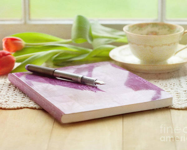 Tulips Poster featuring the photograph Journal And Coffee by Kay Pickens