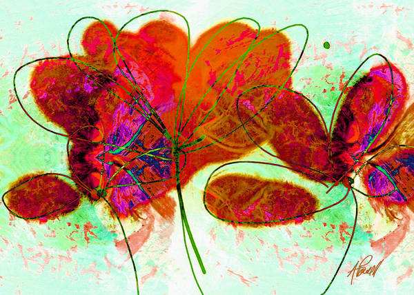 Abstract Poster featuring the painting Joy Flower Abstract by Ann Powell