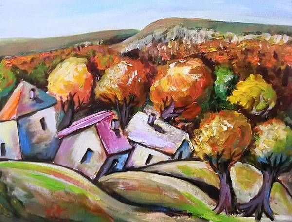 Houses Poster featuring the painting Joy Of Fall by Vita Soldatenko