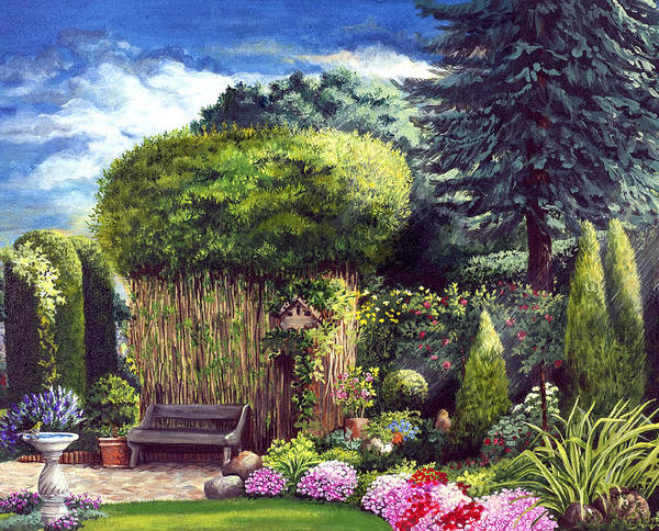 Garden Path Poster featuring the painting Joy's Garden by Mary Palmer