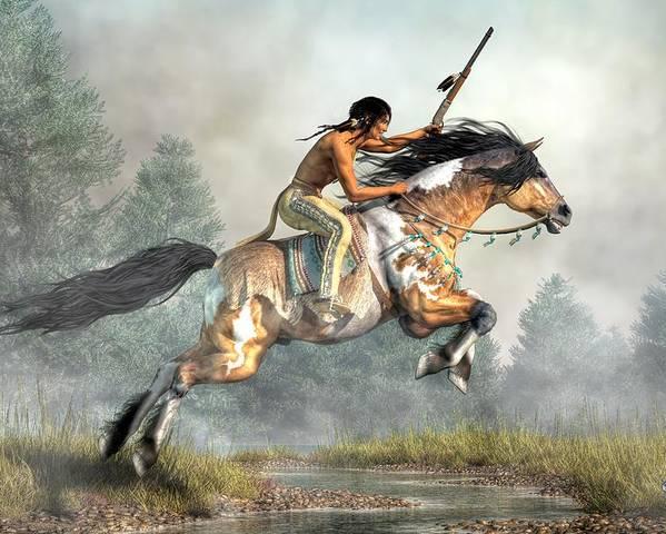 Jumping Horse Poster featuring the digital art Jumping Horse by Daniel Eskridge