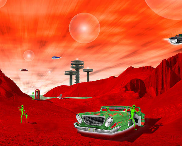 Surrealism Poster featuring the photograph Just Another Day On The Red Planet 2 by Mike McGlothlen