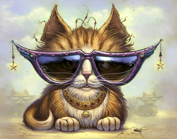 Cat Artwork. Cats Poster featuring the painting Just Be by Jeff Haynie