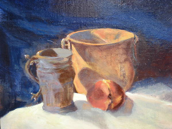Still Life; Fruit; Canisters; Vases Poster featuring the painting Just Peachy by Bryan Alexander