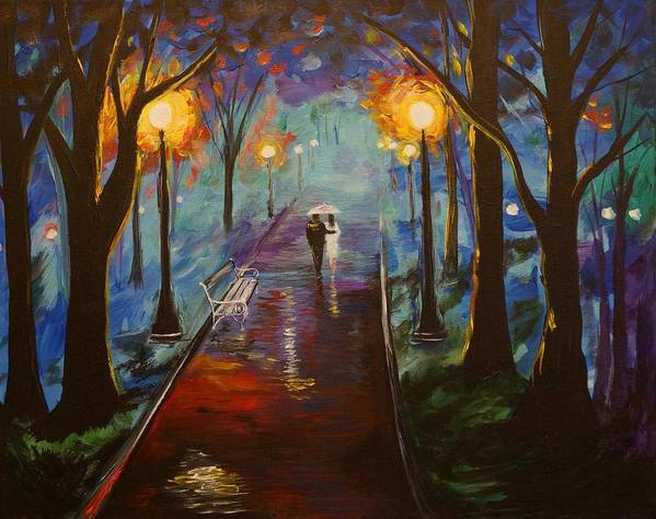 Couple In Love Poster featuring the painting Just The Two Of Us by Leslie Allen