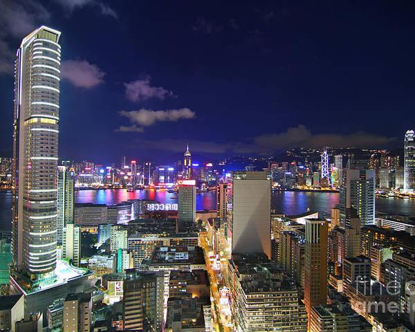 Hong Kong Poster featuring the photograph K11 In Tsim Sha Tsui In Hong Kong At Night by Lars Ruecker