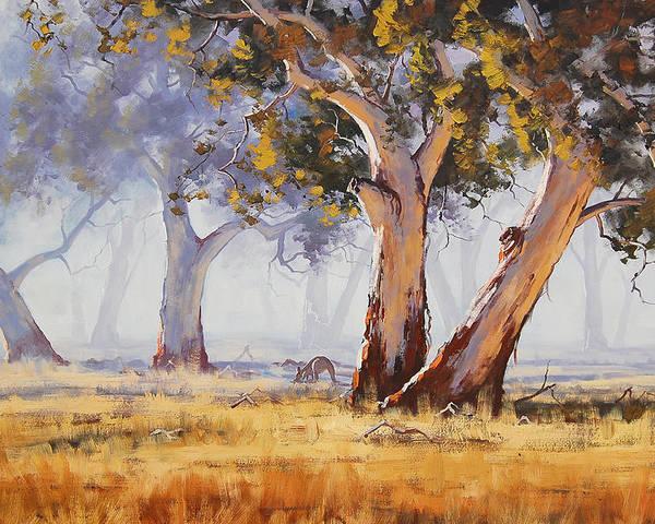 Eucalyptus Trees Poster featuring the painting Kangaroo Grazing by Graham Gercken