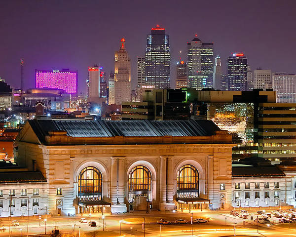 Kansas City Skyline At Night Kc Downtown Color Panorama