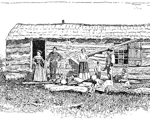 1854 Poster featuring the painting Kansas Early House, 1854 by Granger