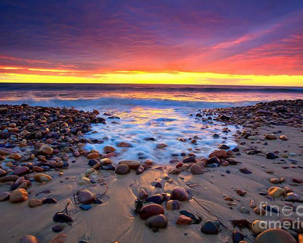 Sunset Pebbles Stones Beach Seascape Seascapes Karrara Hallett Cove Adelaide South Australia Australian Poster featuring the photograph Karrara Sunset by Bill Robinson